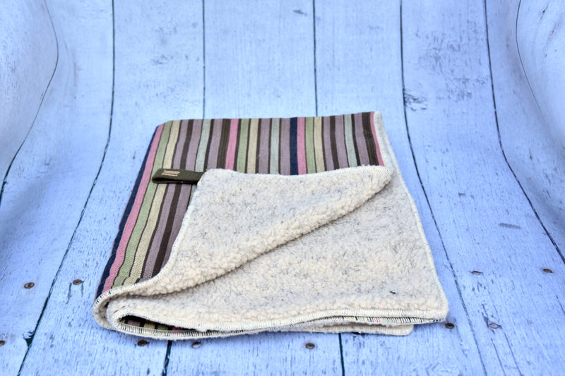 Mocha Pastel Stripe Blanket Bed