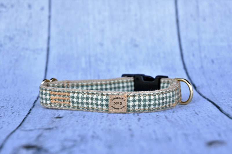 "3/4"" Small Green Plaid Collar"