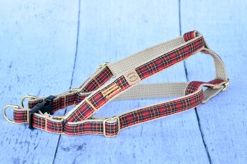 """3/4"""" Small Red Plaid Harness"""